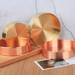 $enCountryForm.capitalKeyWord Australia - Copper Round Storage Tray Desk Metal Storage Organizer Rose Gold Jewelry Organizer Small Object Storage Dishes Home Decor