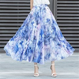 Chinese  Summer Skirts Womens Fashion New Bohemia Beach Maxi Skirt Boho Chiffon Broken Flower Long Skirt Casual Clothes manufacturers