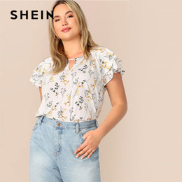 35c97d9855c6bb Plus Size Choker Neck Layered Ruffle Sleeve Floral Blouse Women Casual Cut  Out Neck Butterfly Sleeve Summer White Blouse C19041001