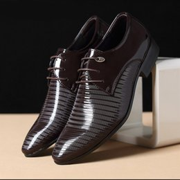 $enCountryForm.capitalKeyWord Australia - Shoes men Black striped glossy men's leather shoes pointed toes dress leather plus size NE029