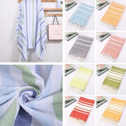 turkish accessories wholesale NZ - New Colorful Turkish towel Striped beach towels Cotton Bath Towels Gift Spa Gym Yoga Beach towel Beach Accessories 100X180cm 4924