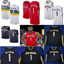Wholesale Pullover da basket NCAA New Orleans 2019 Pelicans 1 Zion Williamson Bianco Blu Rosso Bianco Swingman