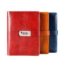 $enCountryForm.capitalKeyWord Australia - New Leather Notebook Diary With Lock Code Bussiness Vintage Diary Paperback Notepad 80 Sheets Stationery Products Supplies Gift