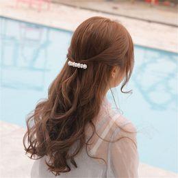 $enCountryForm.capitalKeyWord Australia - 1Pc New Fashion Korean Design Women Flower Pearl Hair Clip Crystal Rhinestone Barrette Women Girls Metal Hair Accessories Gifts