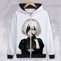 $enCountryForm.capitalKeyWord NZ - Japanese animation Neil Machinery Era High quality flannel Hoodie 2B Miss Autumn and Winter jacket zipper cardigan