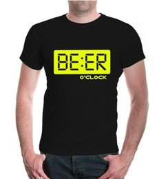 027004983b Herren Unisex Kurzarm T-Shirt Beer o clock Bier Funshirt Uhrzeit Party Disco