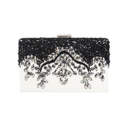 $enCountryForm.capitalKeyWord UK - exquisite embroidery evening bags silver rhinestone black bead PU leather clutch bags for woman lady girl female