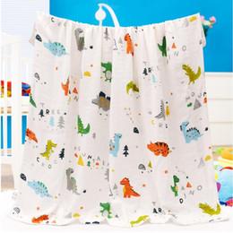Kids Wrap Towel NZ - Baby Blankets Newborn 4 Layers Photography 115*115CM Wrap Dinosaur Infant Kids Play Mat Anima Boys Girls Swaddle Blanket Bathing Towel Gift