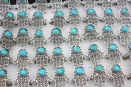 Fatima Ring NZ - Wholesale lots 20pcs Vintage Silver Five Hand Of Fatima Hamsa Turquoise rings Amulet Evil Eye Stone Opening Rings Gift MR79
