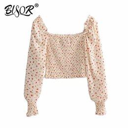 Square Shirt women online shopping - Women sweet slim crop top Flower print long sleeve square collar backless chic shirt stretchy short blouse