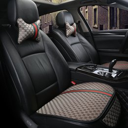 Wholesale New Car Seat Cover Linen Fabric Pad Front Rear Flax Cushion Protector Mat Pad Universal Size Breathable Auto car accessories