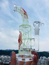 "$enCountryForm.capitalKeyWord Australia - Glass bongs 9"" spider web glows in the dark smoking hookah pipes bubbler evening light Glass shisha pipe 18.8mm bowl oil RIGS"