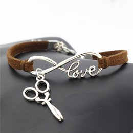 $enCountryForm.capitalKeyWord Australia - Newest Hot Sales Silver Infinity Love Scissors Friendship Jewelry Antique Dark Brown Leather Rope Charm Women Men Summer Bracelets & Bangles