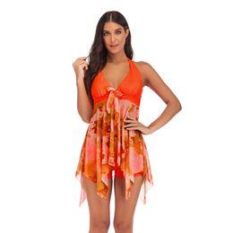 Discount swimsuit boxers women - Floral Halter Swim Dress Swimsuit Boxer Shorts Irregular Dress Suits Swimwear Summer Beach Wear Bathing Suit Women Cloth