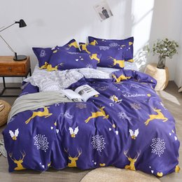 king size bedding sets gold Canada - King Size Bedding Set Christmas Fashionable Cartoon Purple Duvet Cover Queen Reindeer Full Twin Single Soft Bed Cover with Pillowcase