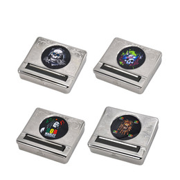 Discount machines for rolling cigarettes - Multi-Pattern Silver Metal Automatic Rolling Machine Box Case Cigarette Tobacco Roller For 70MM Papers Cigarette Rolling