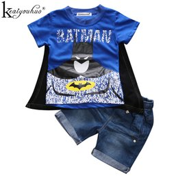 $enCountryForm.capitalKeyWord UK - 2018 Spiderman Boys Clothes Sets Summer Children Clothing Kids Costumes Sets Batman Outfits Suit T-shirt+shorts Boys Sport Suits Y190518