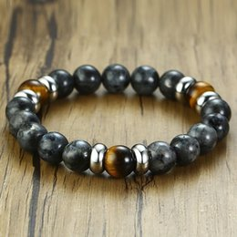 $enCountryForm.capitalKeyWord Australia - Gray Natural Map Stone African with Tiger Eye Stone Beaded Bracelet for Men Stretch Stacking Healing Unisex Boys