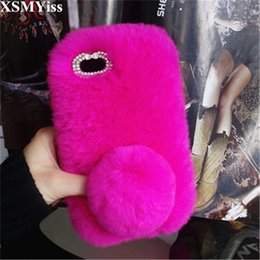 Discount iphone elegant - Cute Soft Fluffy Rabbit Fur Warm Soft Case For Samsung S4 S5 S6 S7 edge S8 S9 Plus N 3 4 5 8 9 Cover Fashion Elegant Pho