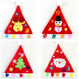kindergarten christmas gifts Australia - DIY Christmas Hat Kindergarten Handmade Materials Puzzle Toys Non-woven Handcraft Educational Toys Christmas Decorations Gift RRA2291
