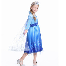 Wholesale american movie online – design Retail Girls Snow queen Cosplay Princess dress Costume Children Cartoon Movie Snowflake Lace dress with Cloak Tassel Kids Clothes M1075