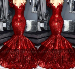 $enCountryForm.capitalKeyWord Australia - Sparkle Red Sequined Evening Dresses 2019 New Arrival Real Image Sweetheart Mermaid Tier Ruffle Skirt Long Prom Vestidos BC1309