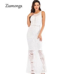 Ziamonga Embroidery Lace Elegant Women Evening Party Dress O-Neck Bodycon  Long Sexy Dress See Through Floor Length Women Vestido 265f120cb083