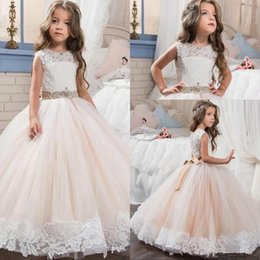 $enCountryForm.capitalKeyWord NZ - White Ivory Lace Pink Tulle Kids TUTU Flower Girl Dresses Communion Party Prom Princess Gown Bridesmaid Wedding Formal Occasion Dress 35