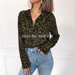 e0497379c9da1f 2019 Leopard Print Blouse Chiffon Tops for Women Long Sleeve Animal Print  Shirt Elegant Office Ladies Tunic Blouses Plus Size