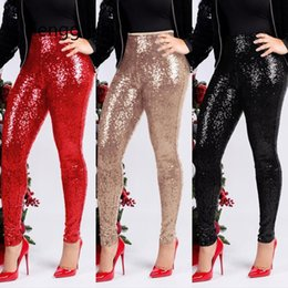Wholesale gold sequin trousers resale online - Women Rose Gold Sequin Pants Ladies Trousers Winter Slim Shiny Skinny Pencil Pants Sparkly Christmas Party Glitter Legging