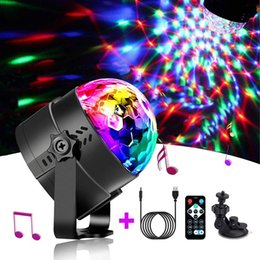 blue jumping ball Australia - Sound Activated Rotating Disco Ball Party Lights Strobe Light 3W RGB LED Stage Lights USB 5V with Car Suction cup support