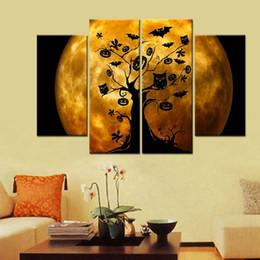 Unframed Art Prints Australia - 4pcs set Unframed Halloween Moonlight Tree Bat Pumpkin Shadow Print On Canvas Wall Art Picture For Home and Living Room Decor