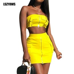 $enCountryForm.capitalKeyWord Australia - Sexy 2 Piece Set Women Summer Clothes Zipper Up Strapless Crop Tops And Bodycon Mini Skirts Club Outfits Two Piece Matching Sets