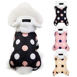 sunglasses dots NZ - Pet Clothing 4-Legged Thickening Cotton Costume Warm Coat for Autumn Winter Small Medium Dogs Dots Printed Hooded Jacket