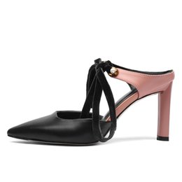 leather soft shoes sandals Australia - Pointed-toe Women Sandals 8 CM High Heels Pink Leather Pumps Lace-up Stilettos Summer Dress Shoes Woman Box Packing C100