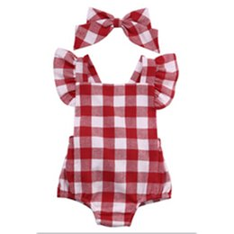 $enCountryForm.capitalKeyWord UK - Newborn Infant Kids Baby Girl Bodysuit Age 0-18M Cute Girls Toddler Kids Clothing Red Plaid Bebes Outfit Clothing For
