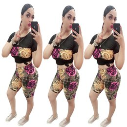 shorts tights set NZ - Women's Fashion Set Short Sleeve Shorts Rose Print Set European and American Style Tight Skinny Set