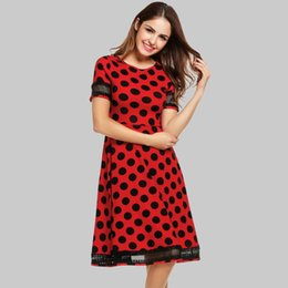 Discount swing mesh - women vintage dresses summer elegant party dress dot black mesh polka short sleeve o neck 1950s plus Swing Pinup Retro d