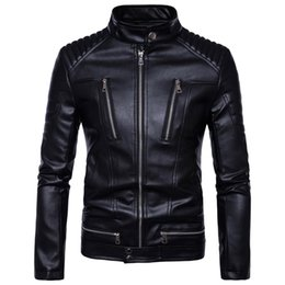 Leather Zippers Australia - Newest British Motorcycle Leather Jacket Men Classic Design Multi-Zippers Biker Jackets Male Bomber Leather Jackets Coats