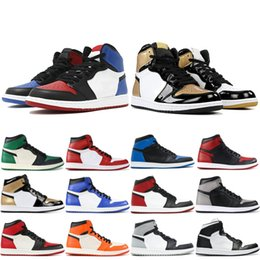Chinese  1 OG Mens Basketball Shoes Pine Green Chicago Banned Shadow Royal blue Designer Shoe 1s Athletics Trainers Sports Snerkers 7-11 manufacturers