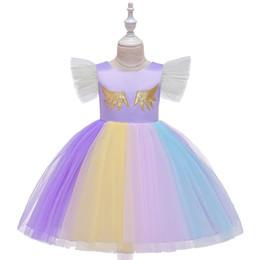 $enCountryForm.capitalKeyWord Australia - Baby Girl Dress Rainbow lace Flying sleeve Big Bow Wedding Ball Gown Dress Flower Girl dress 2019 Summer girl clothing Dropshipping