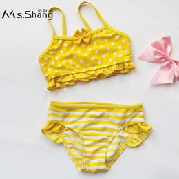 Swimwear Infant Australia - Ms.Shang Dot Infant Baby Girl Swimsuit Children Swimwear 6M-8Years Two Piece Child Swimsuits Bikinis Kids Toddler Girl Swim Suit