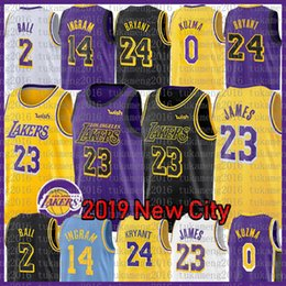 2019 23 Maillot LeBron James Lakers La ville Los Angeles 24 Kobe Bryant 8 2 Ballon de Lonzo 0 Kyle Kuzma 14 Brandon Ingram Maillots de Basketball NOUVEAU