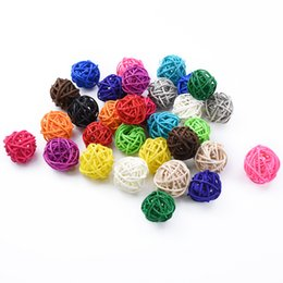 Discount decoration diy restaurant 3cm Artificial Straw Wedding Decorative Flower Wreath Home Christmas Decoration Rattan Ball DIY Curtain Hanging Accessor