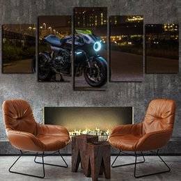 motorcycle painting art 2020 - 5 Panels Heavy Motorcycle Racing Night Artworks Giclee Canvas Wall Art for Kid Home Decor Abstract Poster Canvas Print O