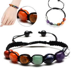 yoga bracelets Canada - Natural Stone Weave Bracelets Colorful Crystal Beads Bracelet Fashion Yoga Women Hand Strings Jewelry Support FBA Drop Shipping M190R