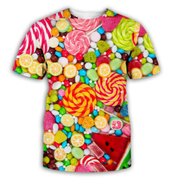 $enCountryForm.capitalKeyWord Australia - Candy 3D Men Women Short Sleeve Printed T-Shirt Colorful Candy Couple's Clothes Best Selling unisex Tee Colorful Lollipop CA005