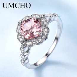 morganite sterling silver rings Australia - Umcho Solid Sterling Silver Cushion Morganite Rings For Women Engagement Anniversary Band Pink Gemstone Valentine's Gift MX190726
