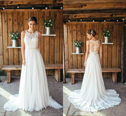 romantic boho beach wedding dress Canada - Romantic Beach Boho Wedding Dresses 2020 Applique Hollow Back Sequins Chiffon Jewel Sheer Neck Lace Wedding Bridal Gowns Cheap new