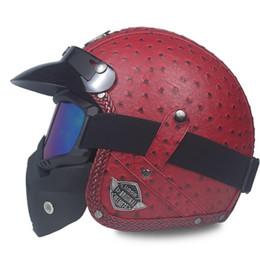 $enCountryForm.capitalKeyWord NZ - HOT sale Open Face Half PU Leather Helmet Moto Motorcycle Helmets vintage Motorbike Headgear Casque Casco For Harley helmet